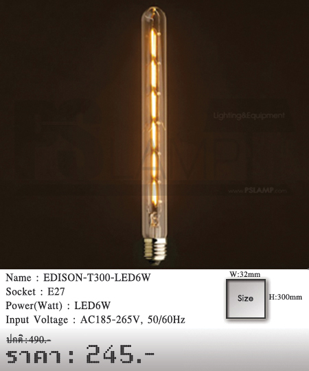 หลอดไฟไส้เอดิสัน-หลอดไฟวินเทจ-หลอดไฟ-LOFT-EDISON-T300-LED6W