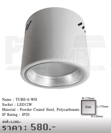 ดาวน์ไลท์-โคมไฟวินเทจ-ขายโคมไฟ-ร้านขายโคมไฟ-โคมไฟโมเดิร์น-TUBE-6-WH