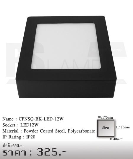 ดาวน์ไลท์ downlight ขายโคมไฟ ร้านโคมไฟ โตมไฟโมเดิร์น CPNSQ-BK-LED-12W