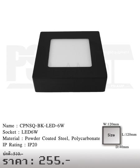ดาวน์ไลท์ downlight ขายโคมไฟ ร้านโคมไฟ โตมไฟโมเดิร์น CPNSQ-BK-LED-6W