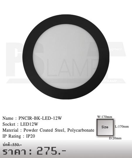 ดาวน์ไลท์ downlight ขายโคมไฟ ร้านโคมไฟ โตมไฟโมเดิร์น PNCIR-BK-LED-12W