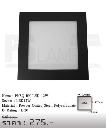 ดาวน์ไลท์ downlight ขายโคมไฟ ร้านโคมไฟ โตมไฟโมเดิร์น PNSQ-BK-LED-12W