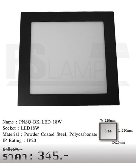 ดาวน์ไลท์ downlight ขายโคมไฟ ร้านโคมไฟ โตมไฟโมเดิร์น PNSQ-BK-LED-18W
