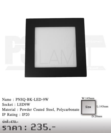 ดาวน์ไลท์ downlight ขายโคมไฟ ร้านโคมไฟ โตมไฟโมเดิร์น PNSQ-BK-LED-9W