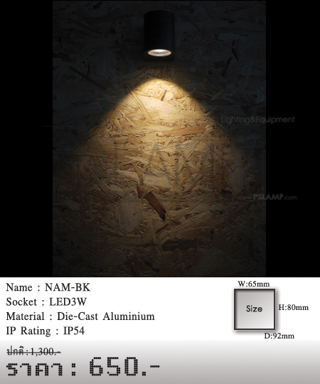 โคมติดผนัง โคมภายนอก โคมไฟผนัง โคมไฟกิ่งภายนอก Outdoor NAM-BK
