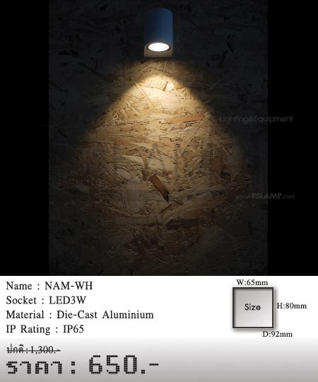โคมติดผนัง โคมภายนอก โคมไฟผนัง โคมไฟกิ่งภายนอก Outdoor NAM-WH