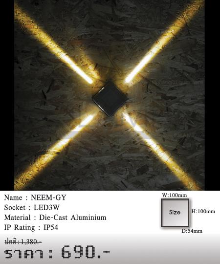 โคมติดผนัง โคมภายนอก โคมไฟผนัง โคมไฟกิ่งภายนอก Outdoor NEEM-GY
