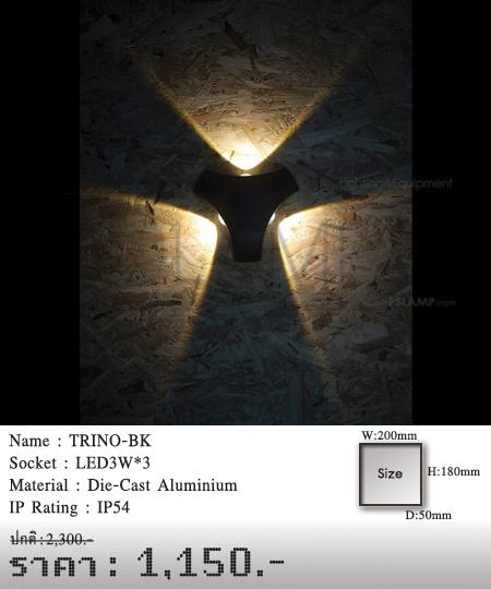 โคมติดผนัง โคมภายนอก โคมไฟผนัง โคมไฟกิ่งภายนอก Outdoor TRINO-BK