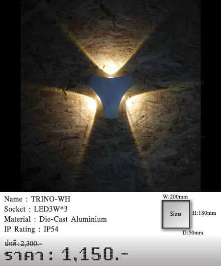 โคมติดผนัง โคมภายนอก โคมไฟผนัง โคมไฟกิ่งภายนอก Outdoor TRINO-WH