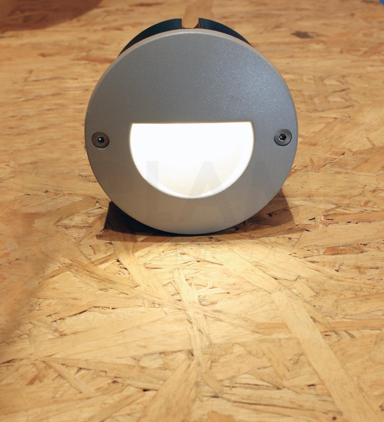 โคมไฟฝังผนัง Step Light โคมไฟภายนอก โคมไฟติดผนัง DOT-ROUND-RAMP-SILVER