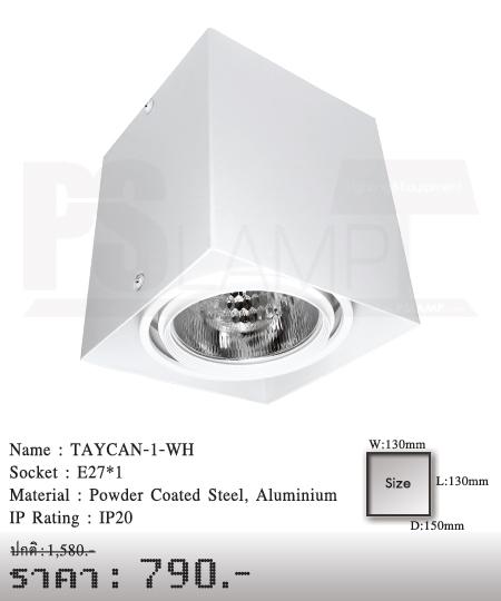 ดาวน์ไลท์-หลอดไฟ-โคมไฟเพดาน-โคมไฟโมเดิร์น-TAYCAN-1-WH